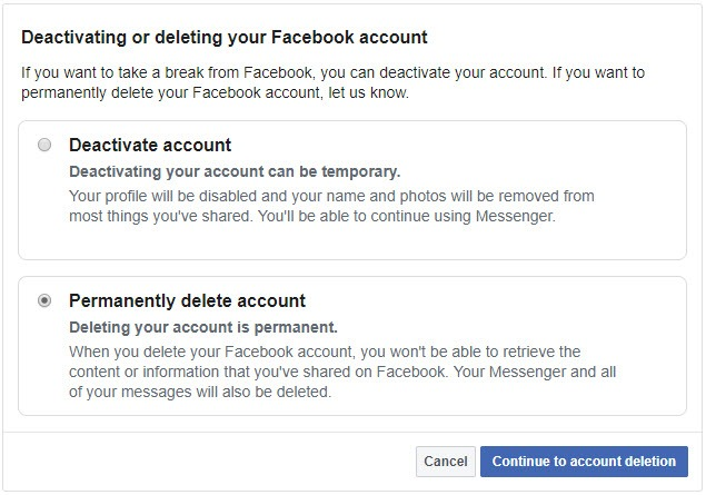 how to delete Facebook account or recover it